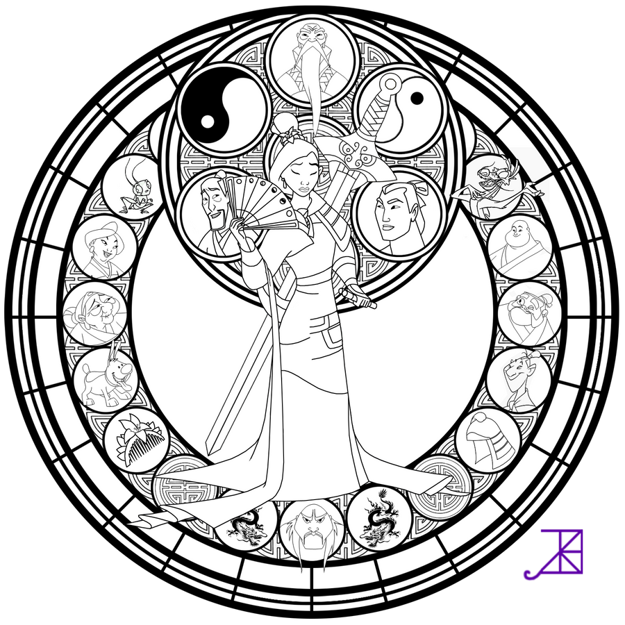 line coloring pages - mulan stained glass line art by akili amethyst on deviantart
