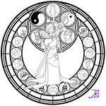 Mulan Stained Glass -line art-