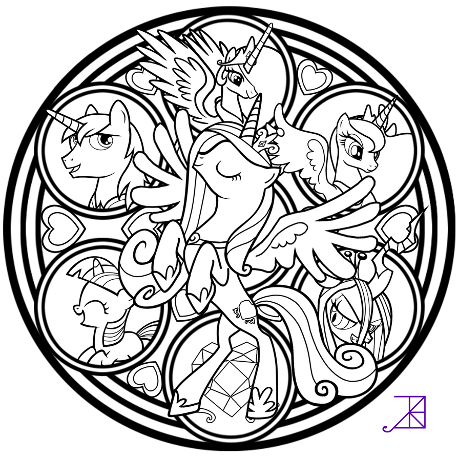 Cadance stained glass tattoo design line art by akili for Tattoo art coloring pages
