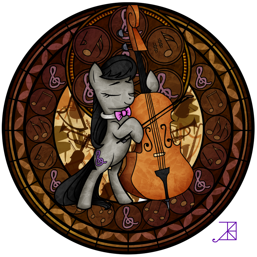 Commission: Stained Glass: Octavia and her Cello by Akili-Amethyst