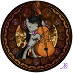 Commission: Stained Glass: Octavia and her Cello