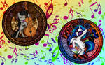 Two Music Lover Ponies -Wallpaper-