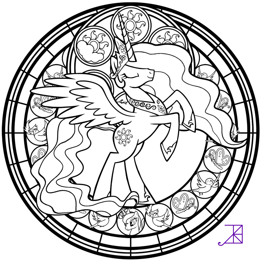 Stained glass celestia take 2 line art by akili for My little pony celestia coloring pages