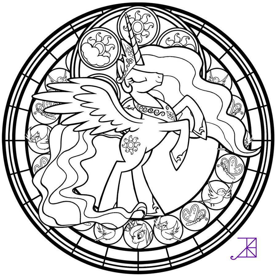 Stained Glass Celestia Take 2 Line Art By Akili Amethyst On DeviantArt