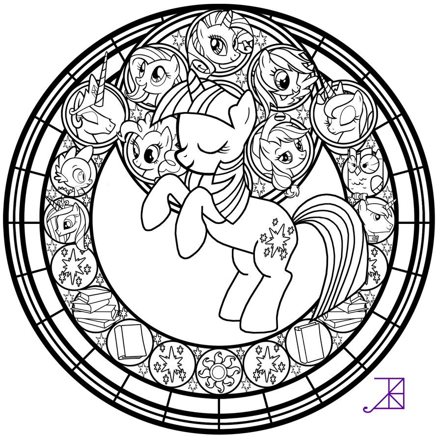 Stained glass twilight sparkle line art by akili for Stained glass window coloring pages