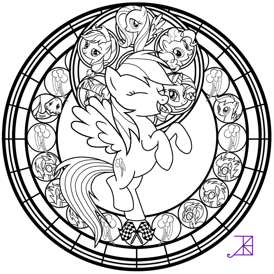 true and the rainbow kingdom coloring pages - stained glass rainbow dash line art by akili amethyst