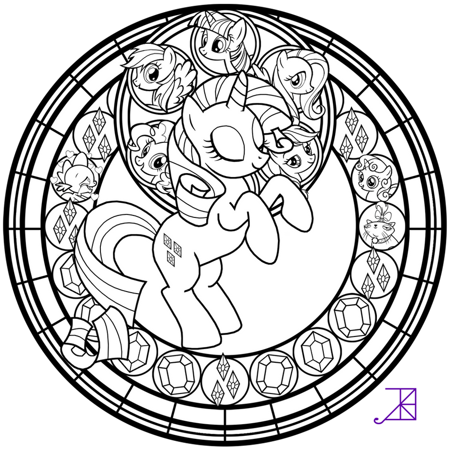 Stained glass rarity line art by akili amethyst on for Coloring pages rarity