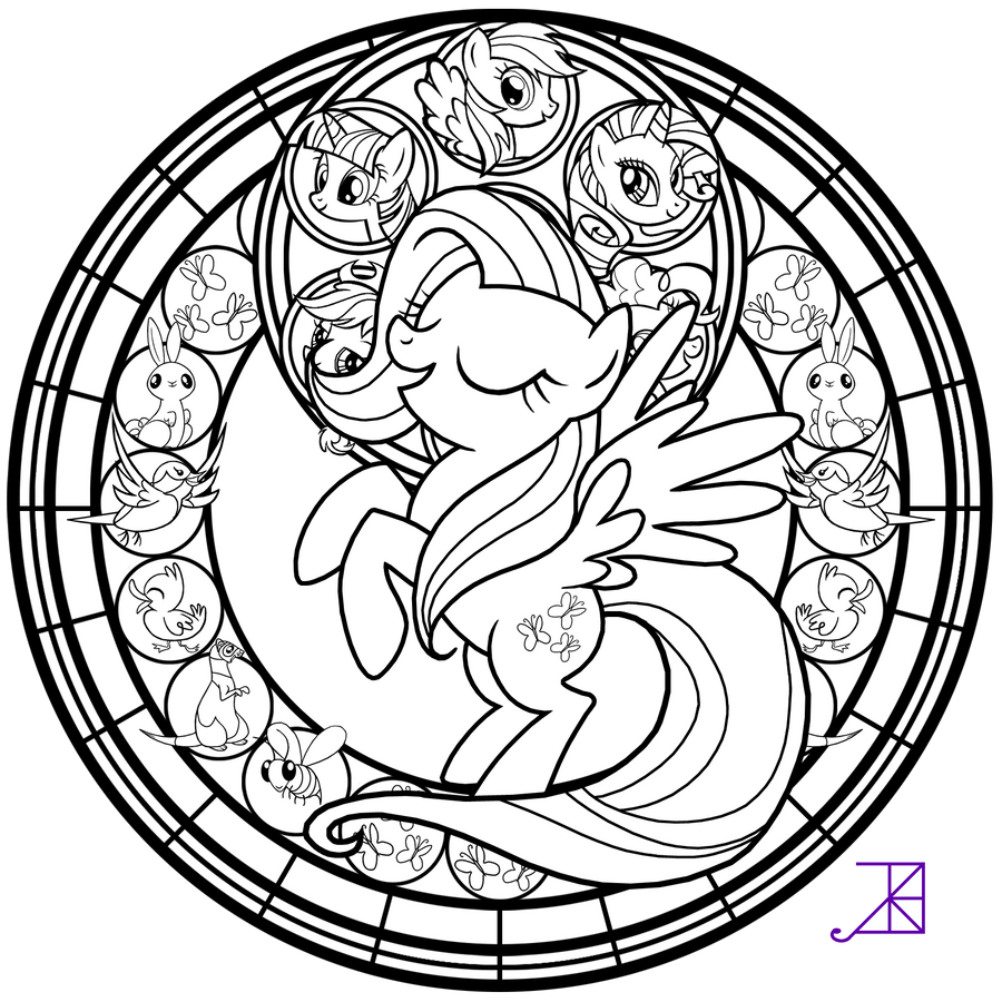 Stained glass fluttershy line art by akili amethyst on for Stained glass window coloring pages