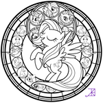 Stained Glass: Fluttershy -line art-