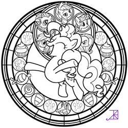 Stained Glass: Pinkie Pie -better line art- by Akili-Amethyst