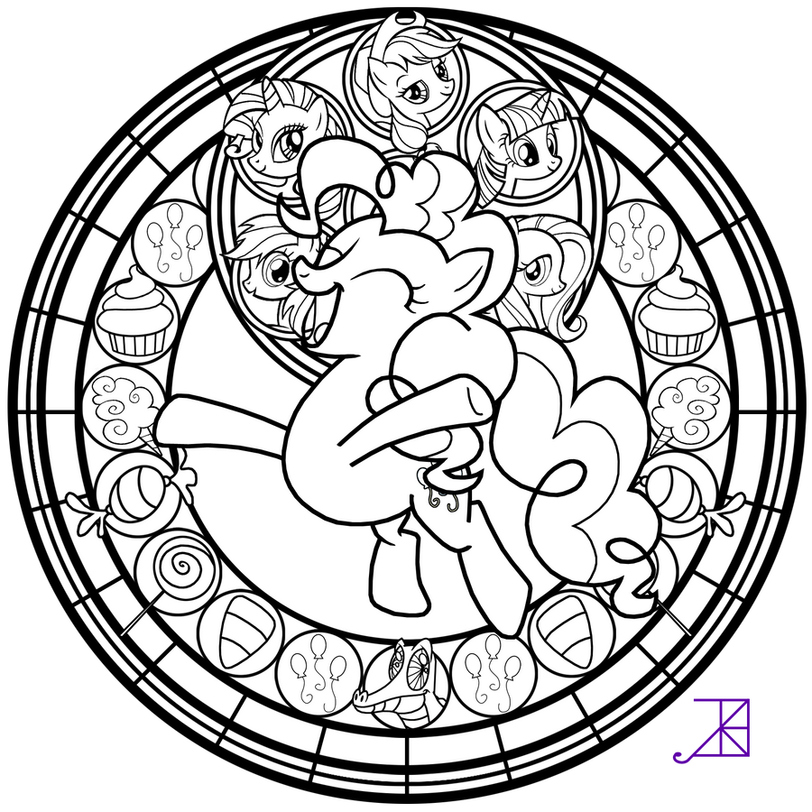 free stained glass coloring pages - stained glass pinkie pie better line art by akili