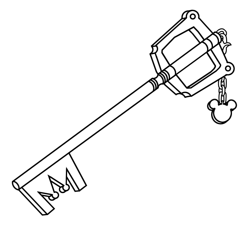 kingdom key line art by akili amethyst - Kingdom Hearts Coloring Pages
