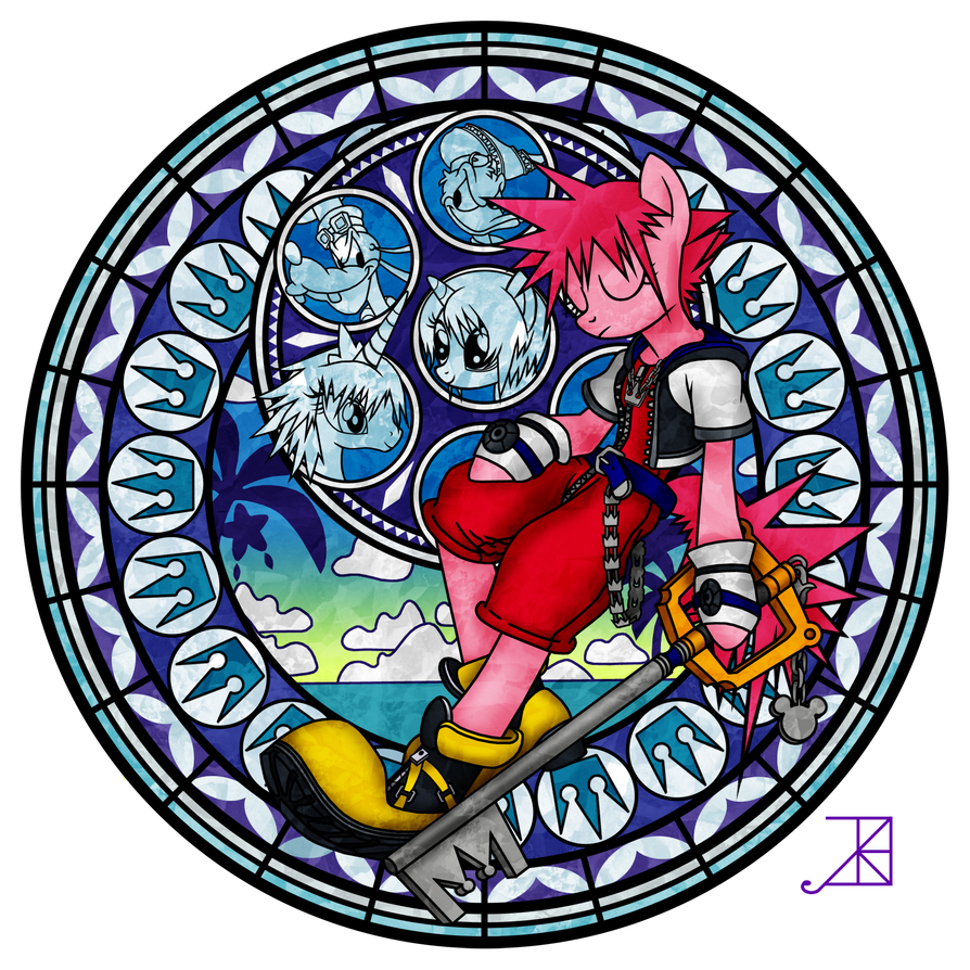 Commission: Stained Glass: Pinkie Pie as Sora by Akili-Amethyst