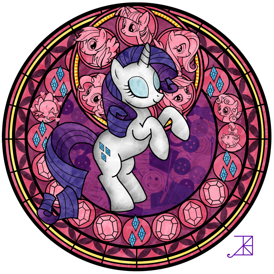Stained Glass: Rarity -recolor- by Akili-Amethyst