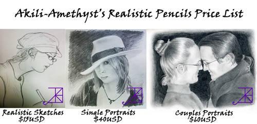 Realistic Pencil Portraits Price List -Sept 2012-