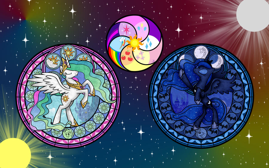 Celestial Ponies and Elements Wallpaper by Akili-Amethyst