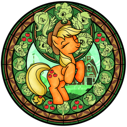 Stained Glass: Applejack -recolor- by Akili-Amethyst