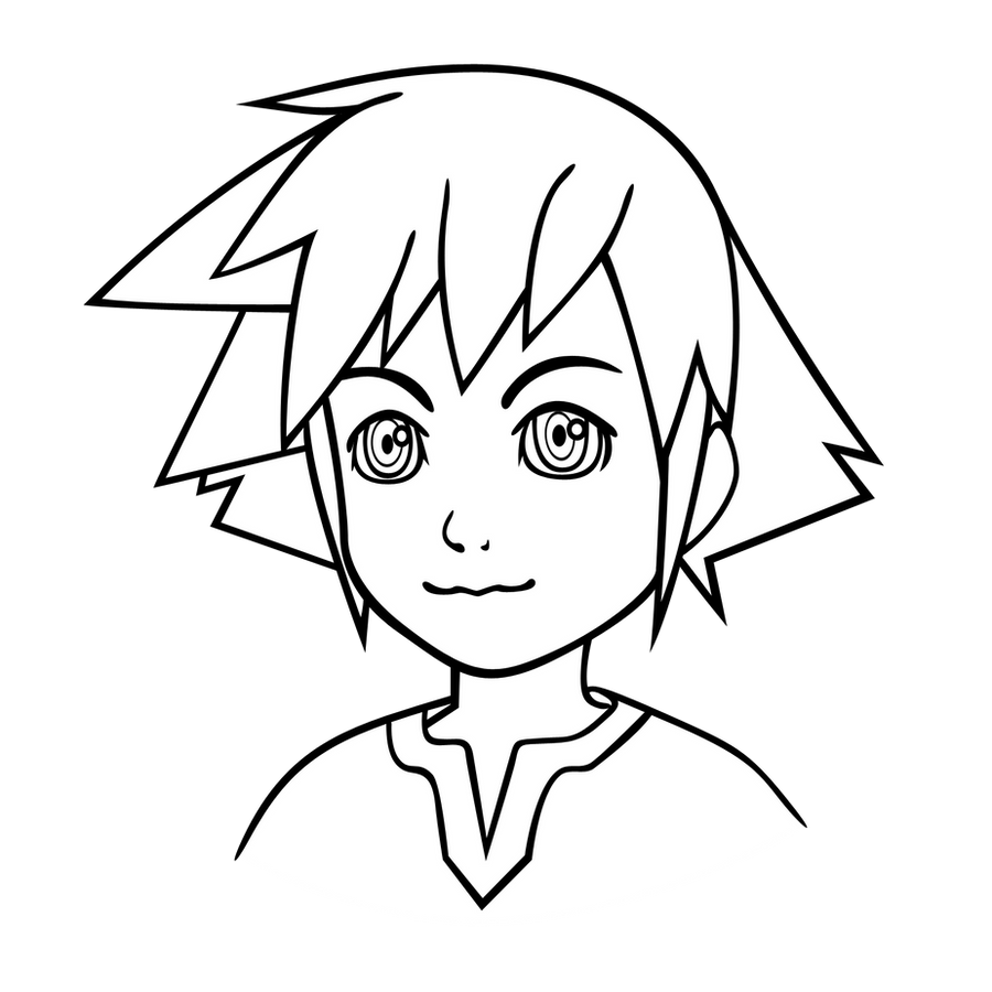 Line Art: Young Sora -bust- by Akili-Amethyst