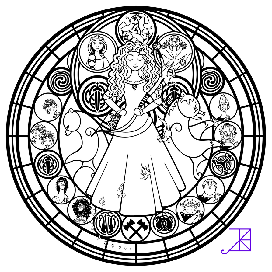 Stained Glass Merida Line Art By Akili Amethyst On DeviantArt