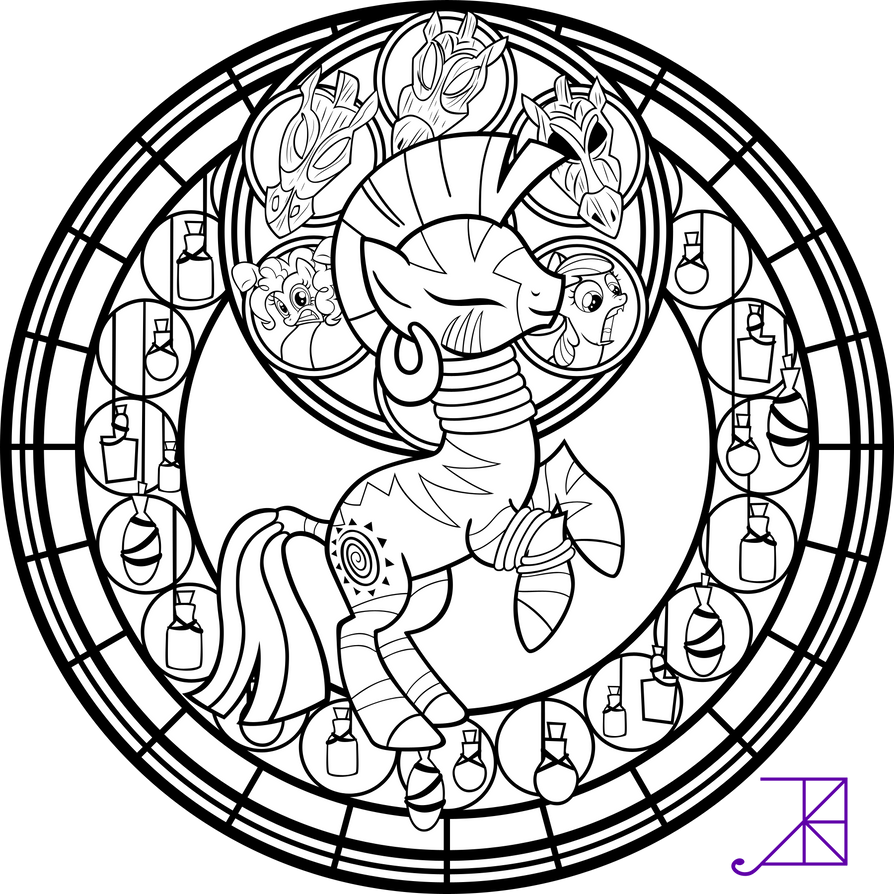 Stained Glass: Zecora -line art- -sans smoke- by Akili-Amethyst