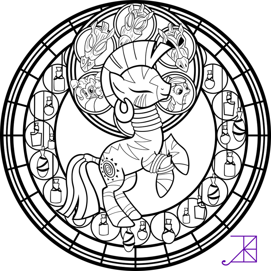 My Little Pony Zecora Coloring Pages : Stained glass zecora line art sans smoke by akili