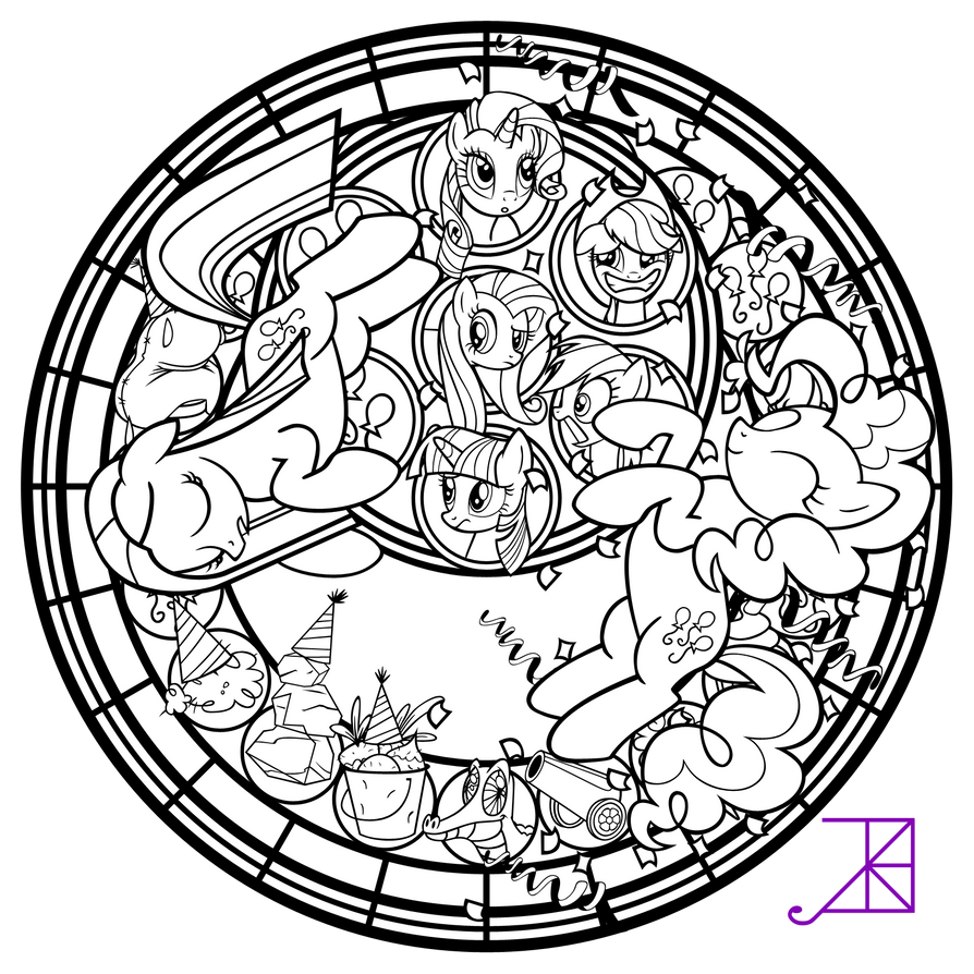 Pinkie pinkamena stained glass line art by akili for Stained glass window coloring pages