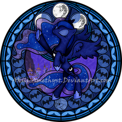 Stained Glass: Princess Luna S2 -5400px- by Akili-Amethyst