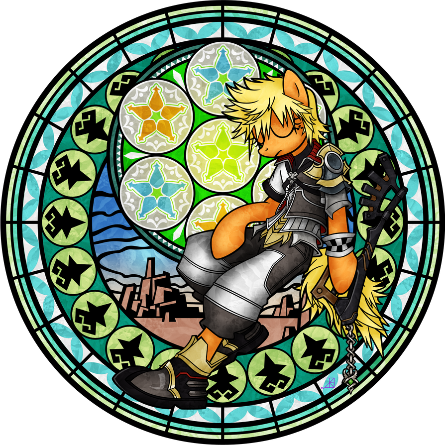 Commission: Stained Glass: Applejack as Ventus by Akili-Amethyst