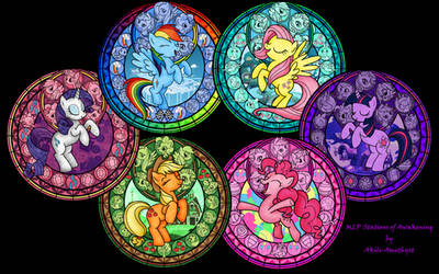 Mane Six MLP Stained Glass Wallpaper by Akili-Amethyst