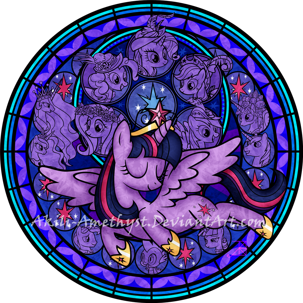 Stained Glass: Twilight's Coronation -vector- by Akili-Amethyst