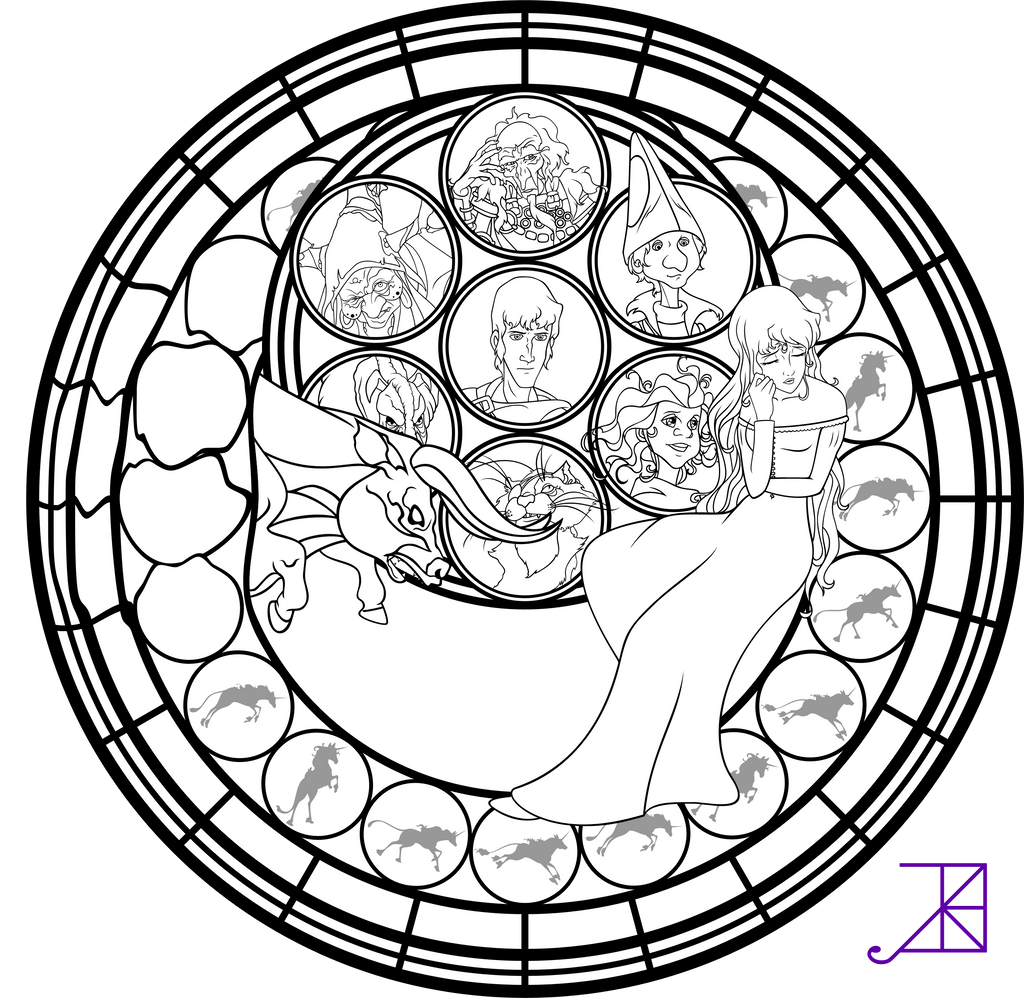 Amalthea Stained Glass Coloring Page by Akili-Amethyst on ...