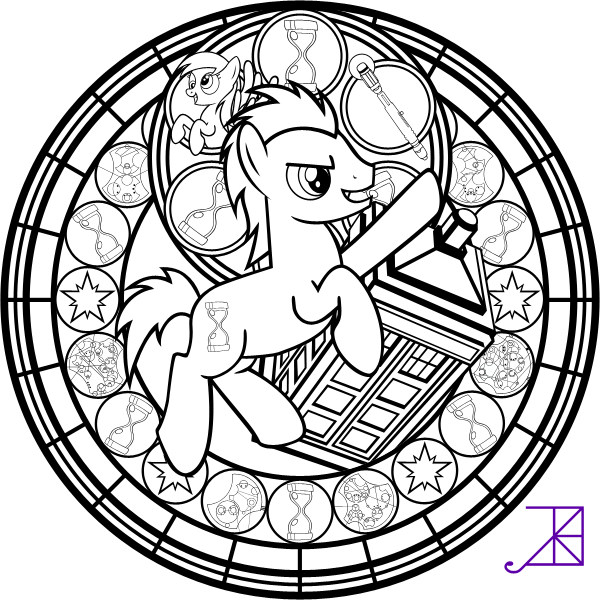 Doctor Hooves Stained Glass Coloring Page by Akili-Amethyst