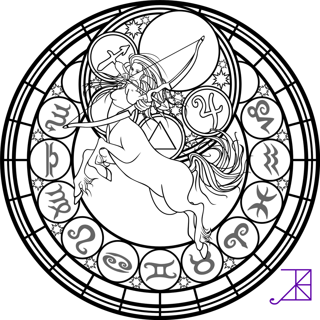Zodiac Sagittarius Stained Glass Coloring Page By Akili Coloring Pages Stained Glass Free