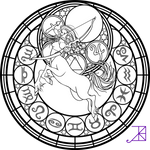 Zodiac Sagittarius Stained Glass Coloring Page
