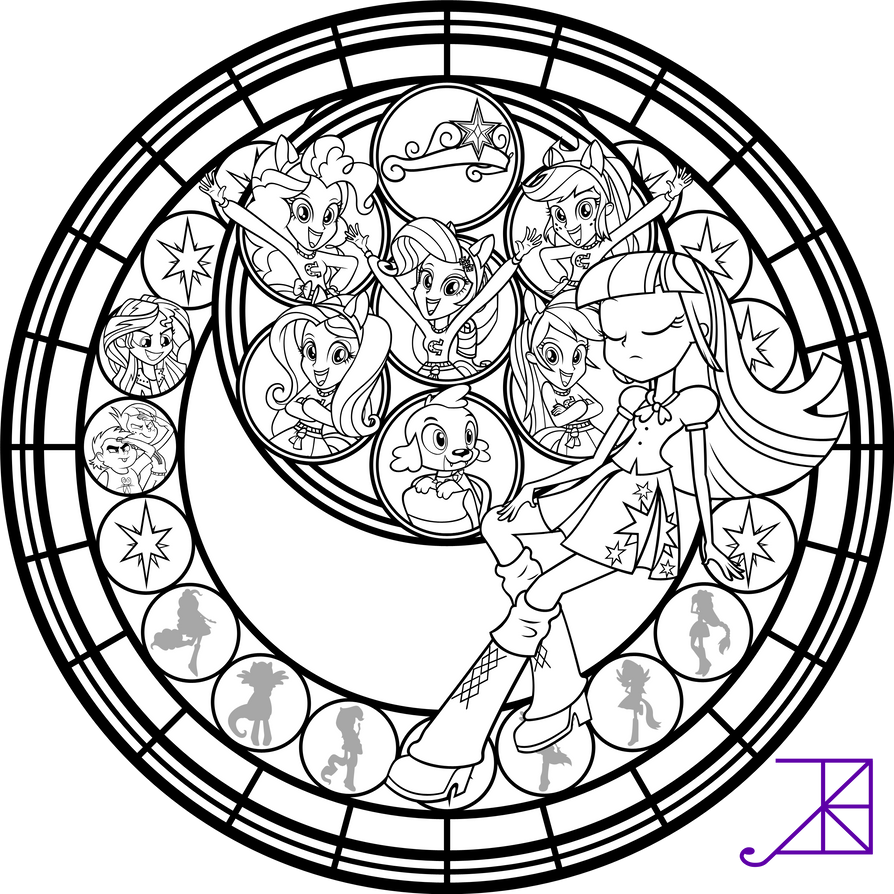 equestria girls stained glass coloring page by akili