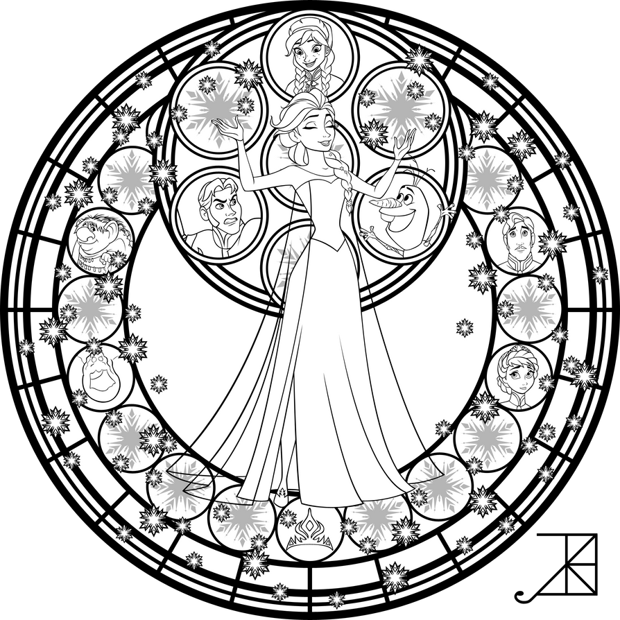 Elsa Stained Glass Line Art by Akili-Amethyst