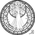 Elsa Stained Glass Line Art