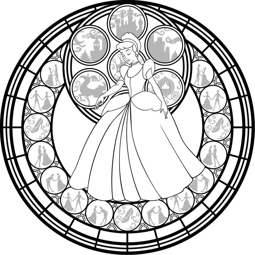 Line Art Vector Illustrator : Cinderella stained glass vector line art by akili amethyst