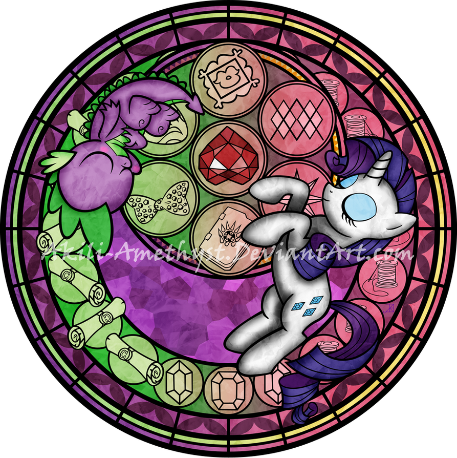Comission: Stained Glass: Rarity - Spike by Akili-Amethyst