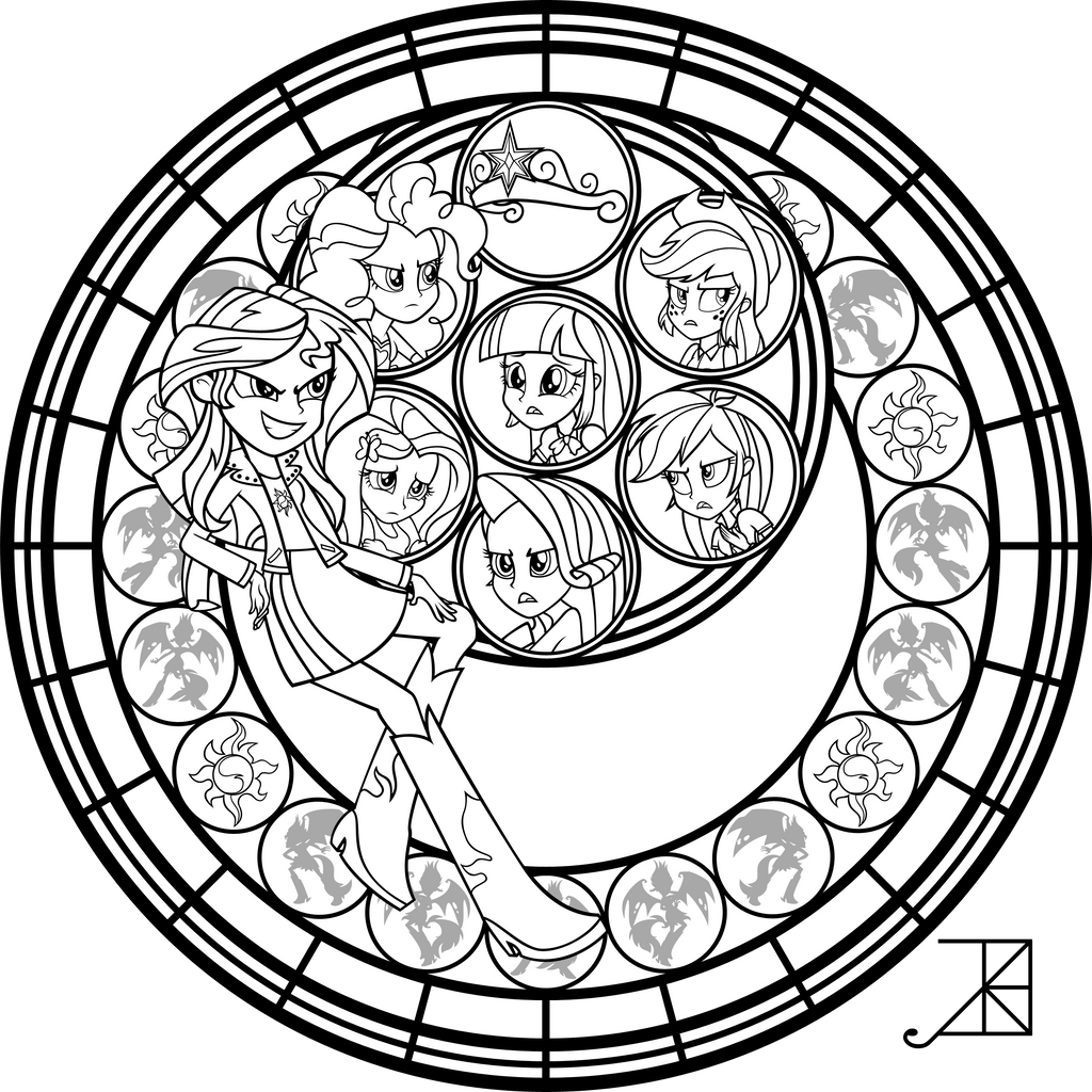 Sunset Shimmer Stained Glass Coloring Page by Akili-Amethyst on ...
