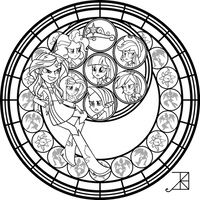 Sunset Shimmer Stained Glass Coloring Page by Akili-Amethyst