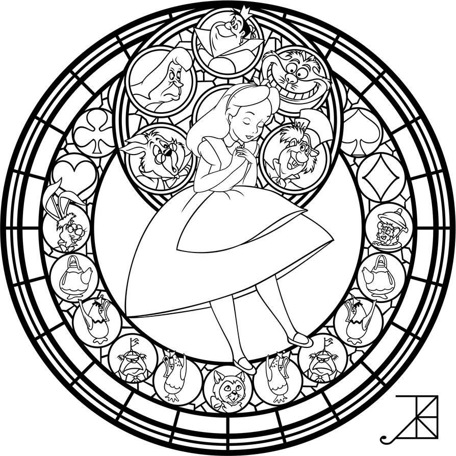 Alice Stained Glass Redo Line Art By Akili Amethyst
