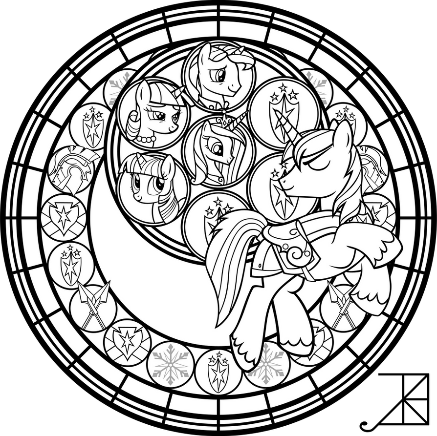 Shining armor stained glass line art by akili amethyst for Stained glass coloring page