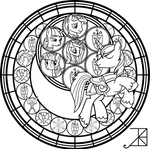 Shining Armor Stained Glass -line art-