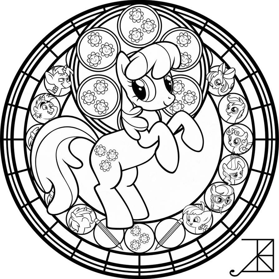Cheerilee Stained Glass Line Art By Akili Amethyst On DeviantArt