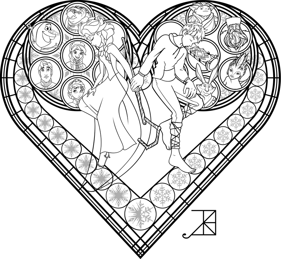 Stained Glass Coloring Page: Frosted Love by Akili ...