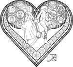 Stained Glass Coloring Page: Frosted Love