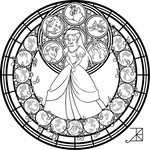 Stained Glass: Ariel: Remastered -line art-