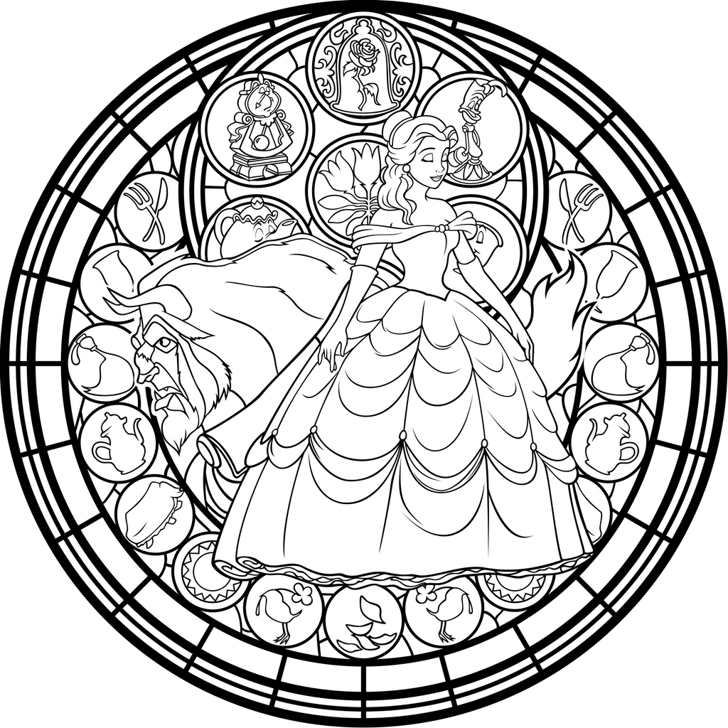 stained glass vector coloring page by akili
