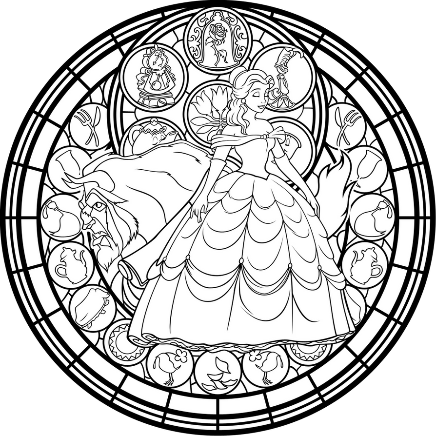 belle stained glass vector coloring page by akili amethyst